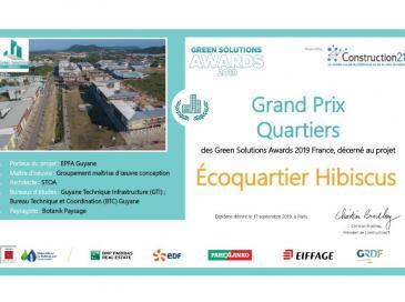 L'EPFA Guyane et la ville de Cayenne ont reçu le prix Green Solutions Award