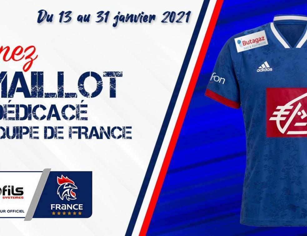 Profils Systèmes met en jeu un maillot dédicacé par l'équipe de France de Handball