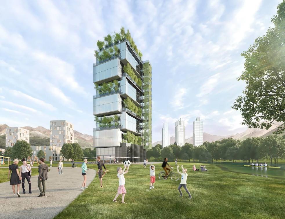 3 architectes devant  la nouvelle façade Tental de Technal